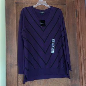 Nwt purple vneck sweater with black stripes 0x